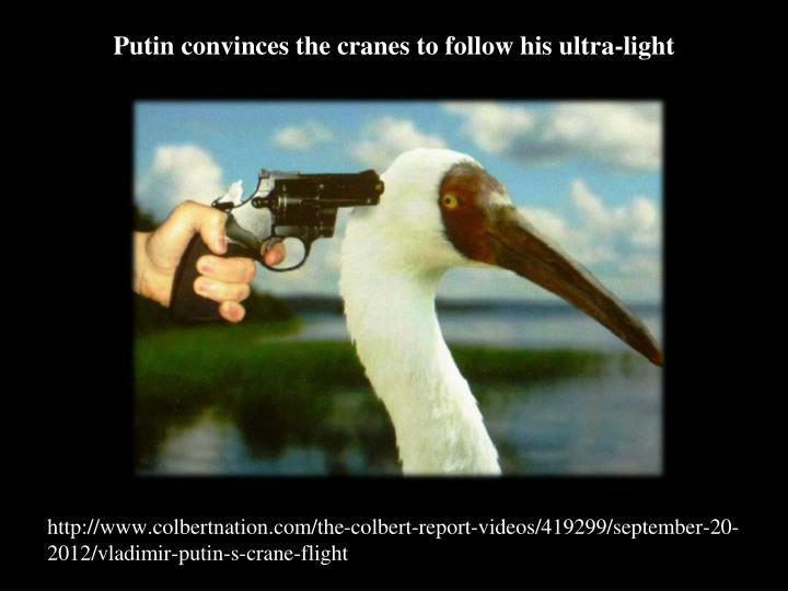 Putin convinces the cranes to follow his ultra-light