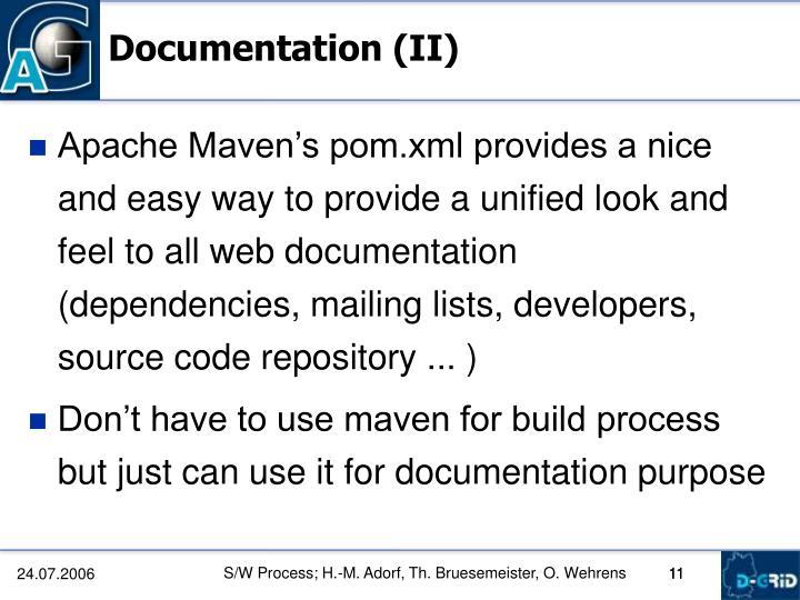 Documentation (II)