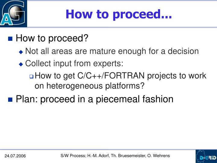 How to proceed...