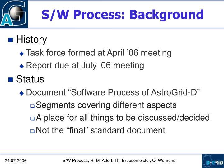 S/W Process: Background