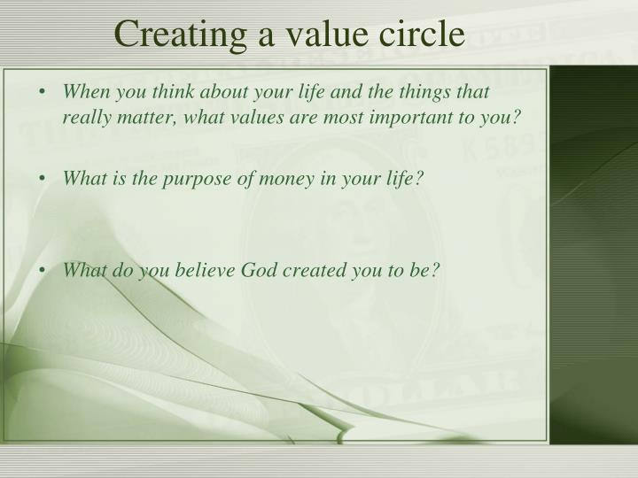 Creating a value circle