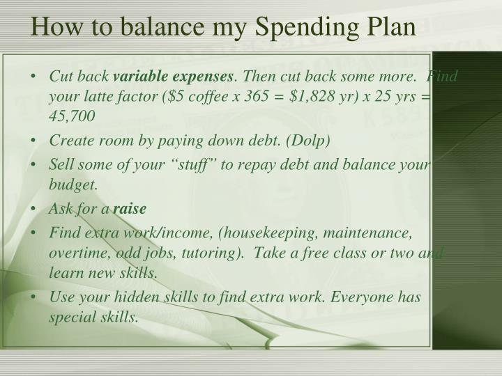 How to balance my Spending Plan