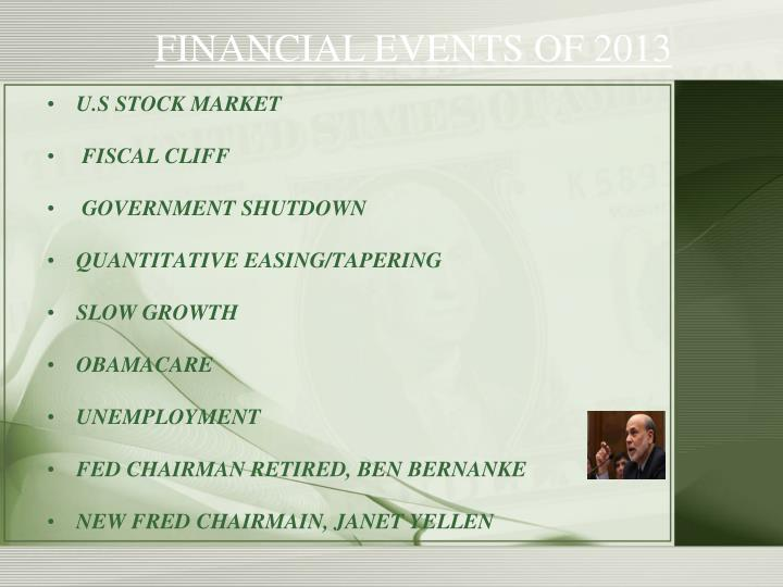 FINANCIAL EVENTS OF 2013