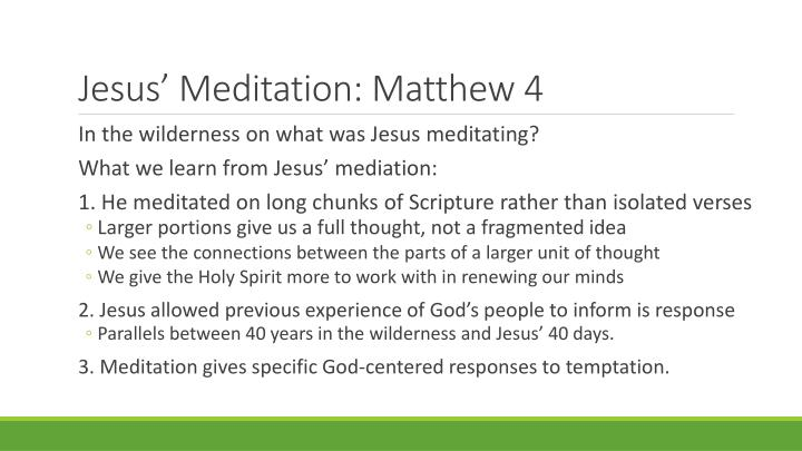 Jesus' Meditation: Matthew 4