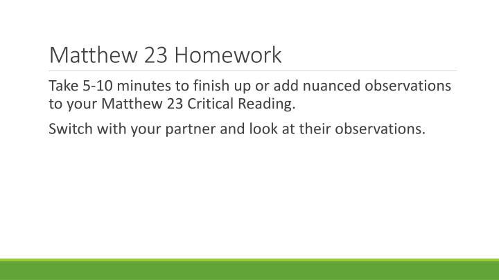 Matthew 23 Homework
