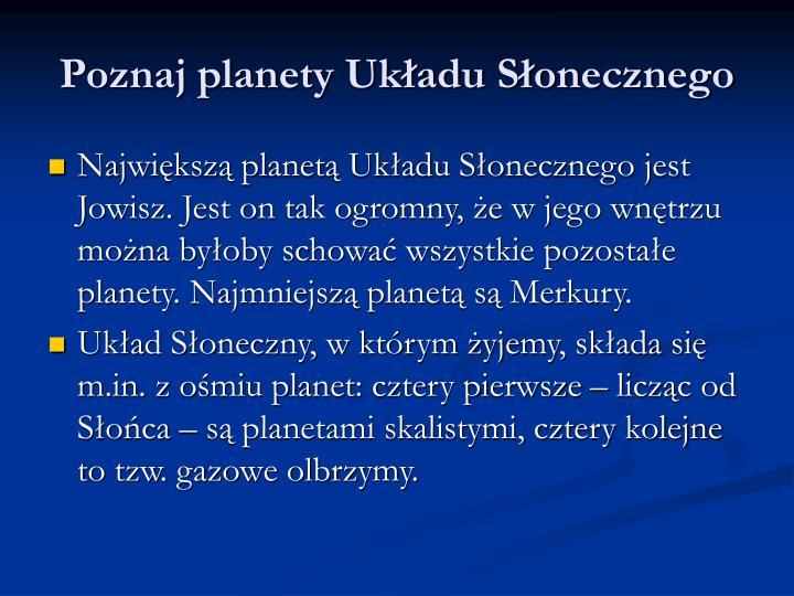 Poznaj planety Układu Słonecznego