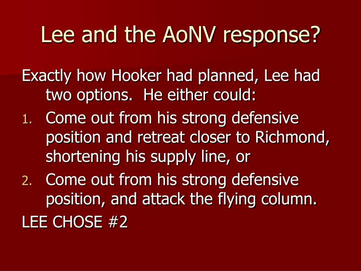 Lee and the AoNV response?