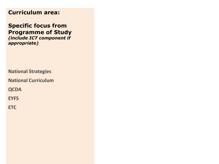 Curriculum area:
