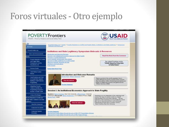 Foros virtuales - Otro ejemplo