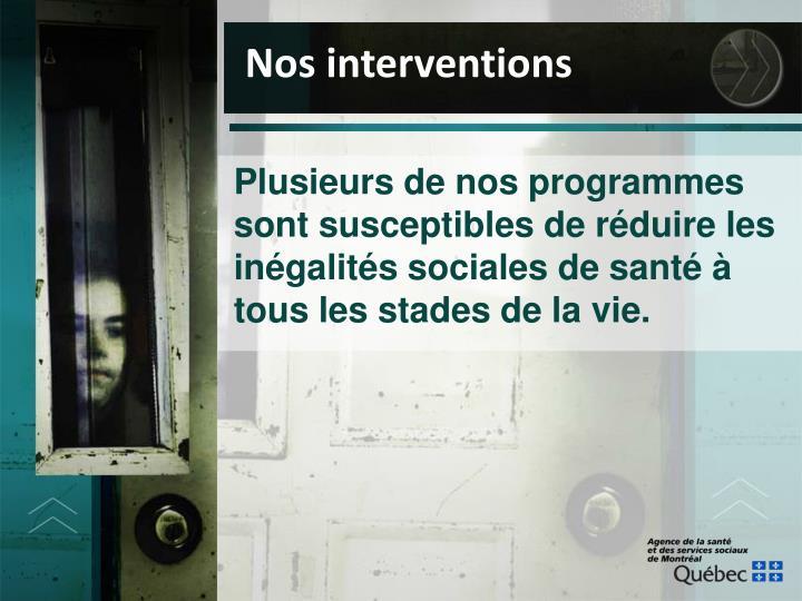 Nos interventions
