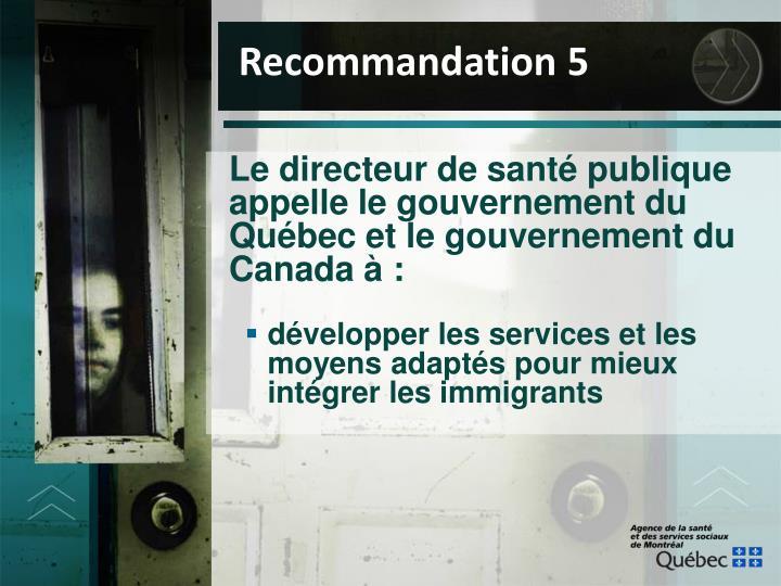 Recommandation 5