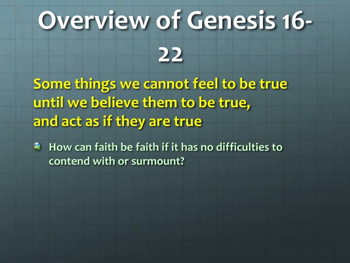 Overview of Genesis 16-22