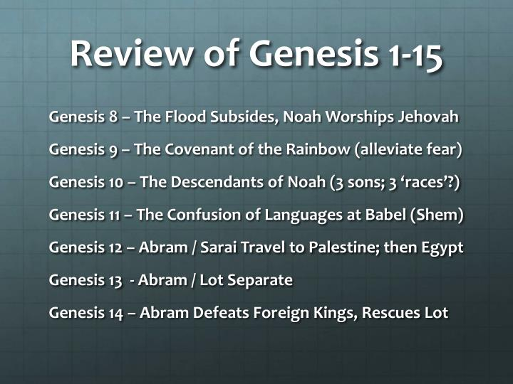 Review of Genesis 1-15
