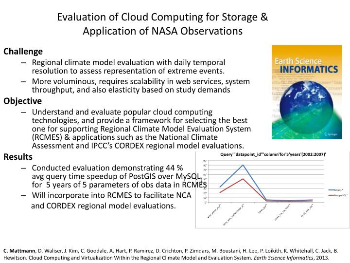 Evaluation of Cloud Computing for Storage & Application of NASA Observations