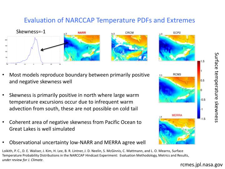 Evaluation of NARCCAP Temperature PDFs and Extremes