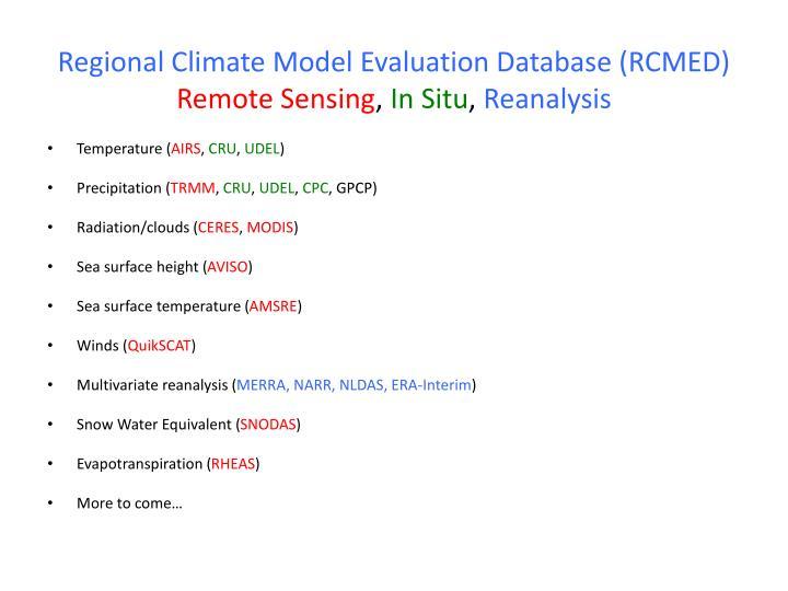 Regional Climate Model Evaluation Database (RCMED)