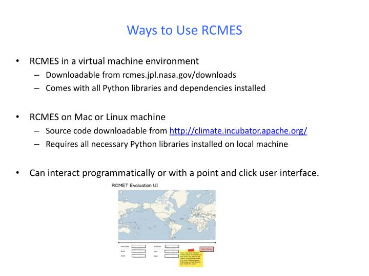 Ways to Use RCMES