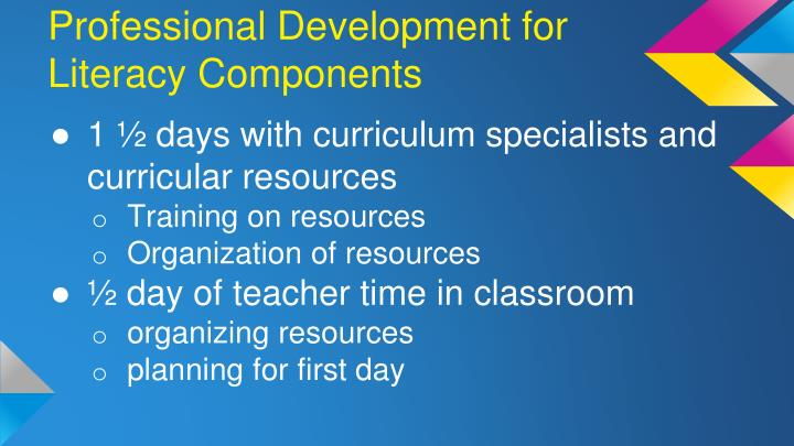 Professional Development for Literacy Components