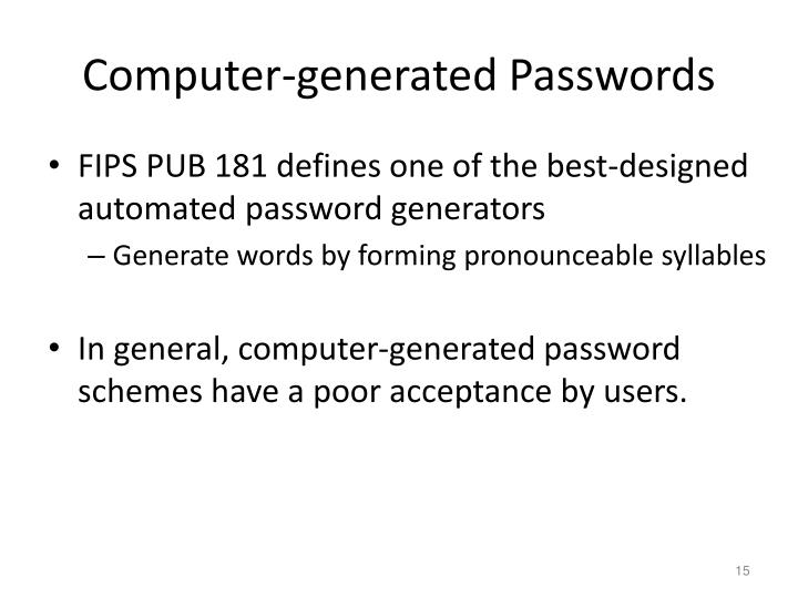 Computer-generated Passwords
