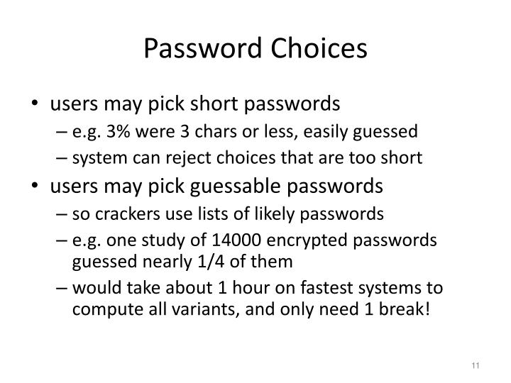 Password Choices