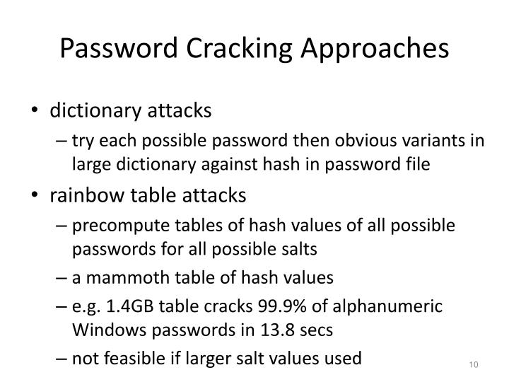 Password Cracking Approaches
