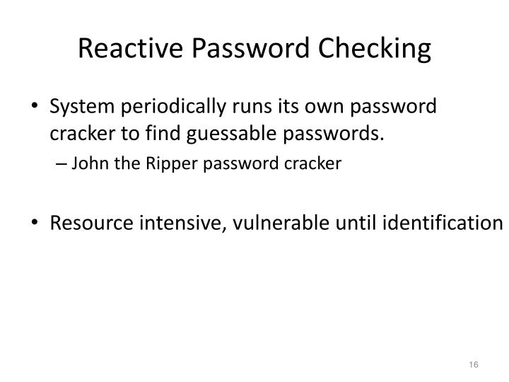 Reactive Password Checking