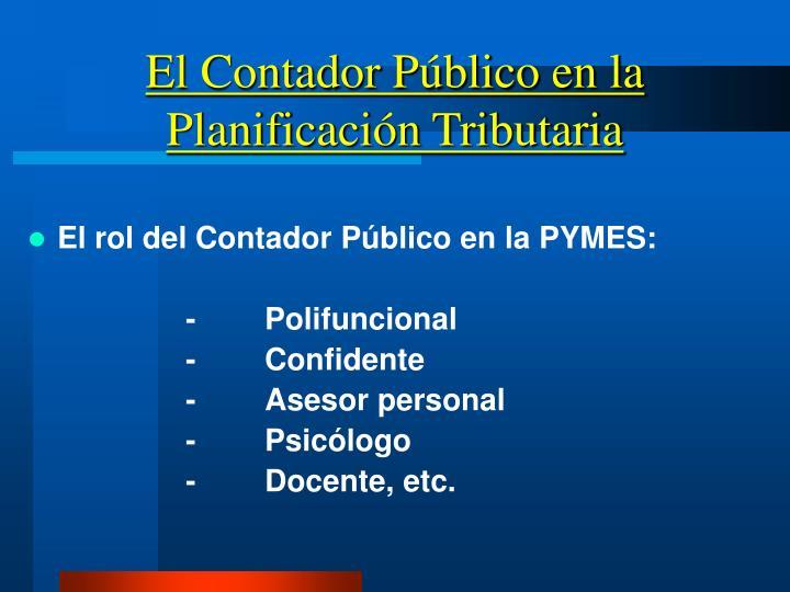 El Contador Público en la Planificación Tributaria