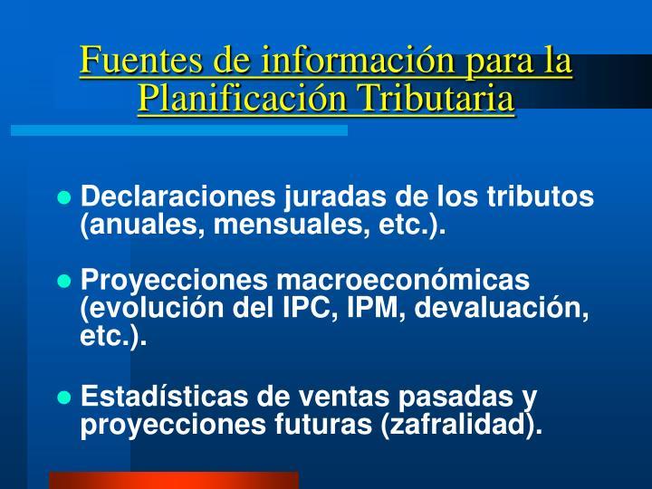 Fuentes de información para la Planificación Tributaria