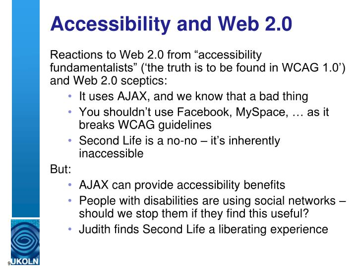 Accessibility and Web 2.0