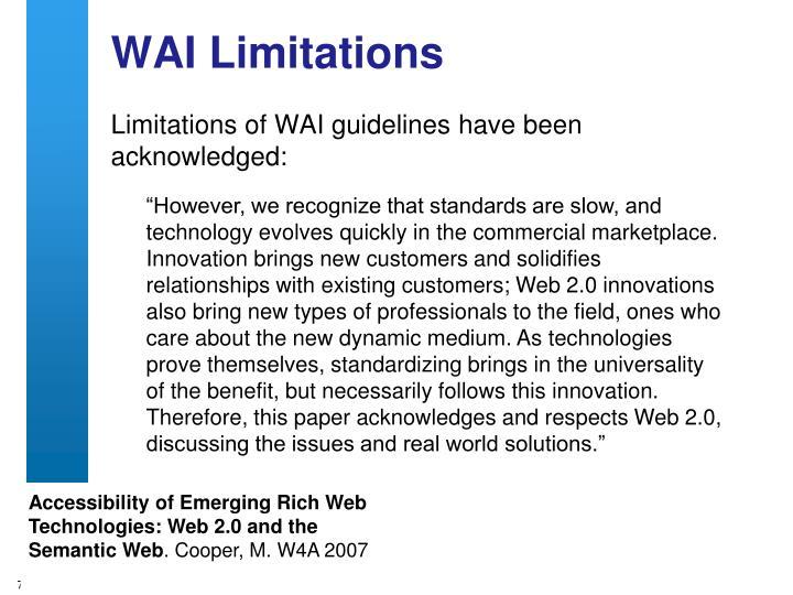 WAI Limitations