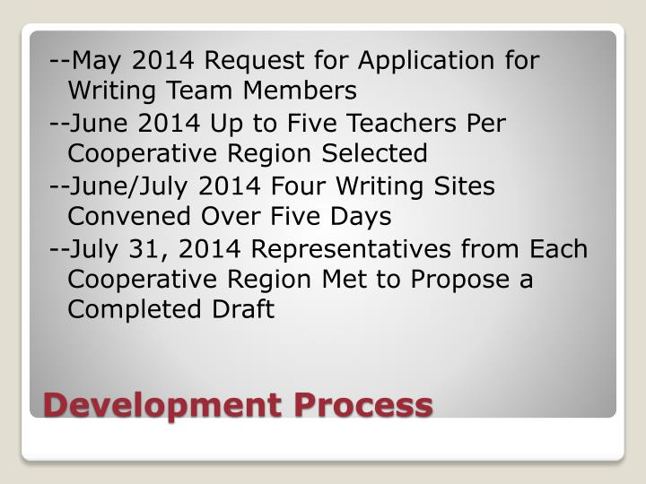 --May 2014 Request for Application for Writing Team Members