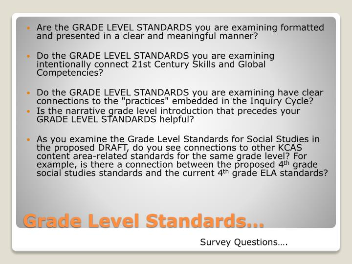 Are the GRADE LEVEL STANDARDS you are examining formatted and presented in a clear and meaningful manner?