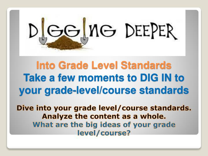 Dive into your grade level/course standards.  Analyze the content as a whole.