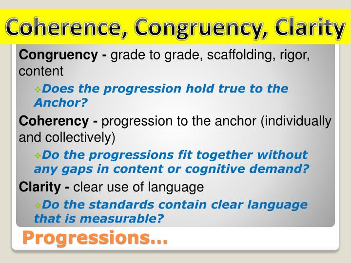 Coherence, Congruency, Clarity