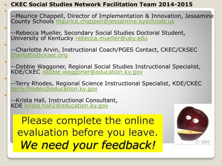 CKEC Social Studies Network Facilitation Team 2014-2015