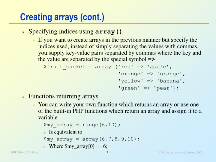 Creating arrays (cont.)