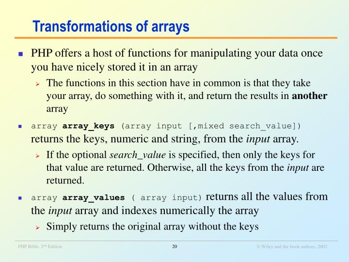 Transformations of arrays