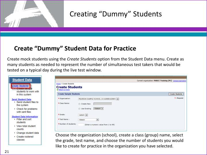"Creating ""Dummy"" Students"