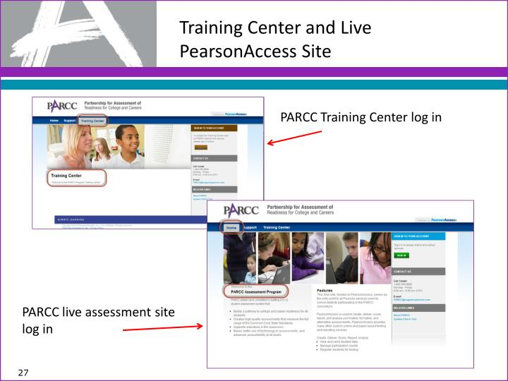 Training Center and Live PearsonAccess Site