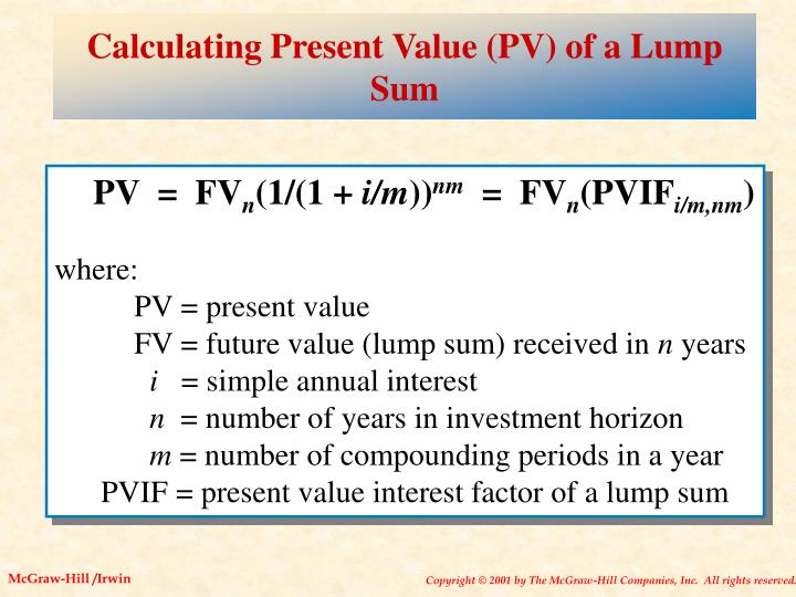 Calculating Present Value (PV) of a Lump Sum