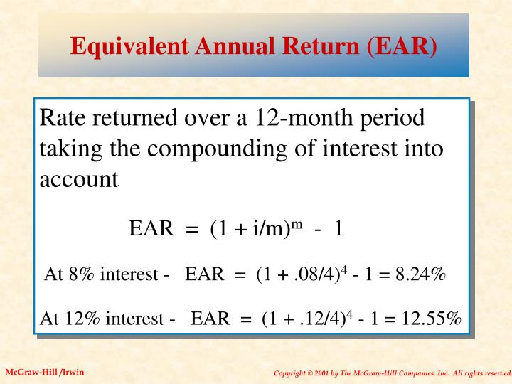 Equivalent Annual Return (EAR)