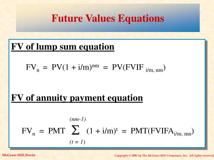 Future Values Equations