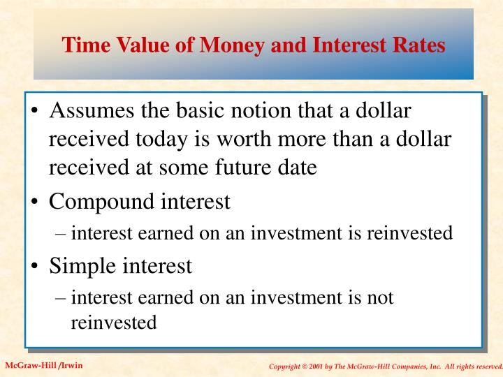Time value of money and interest rates