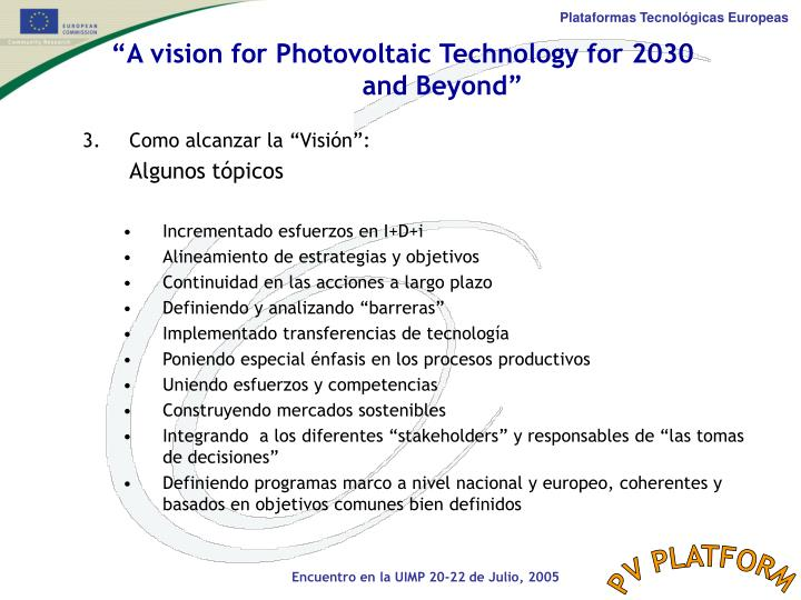 """A vision for Photovoltaic Technology for 2030"