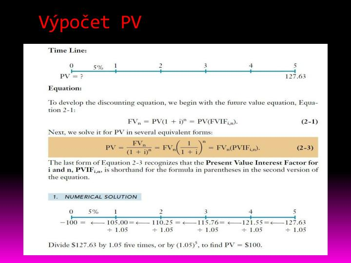 Výpočet PV