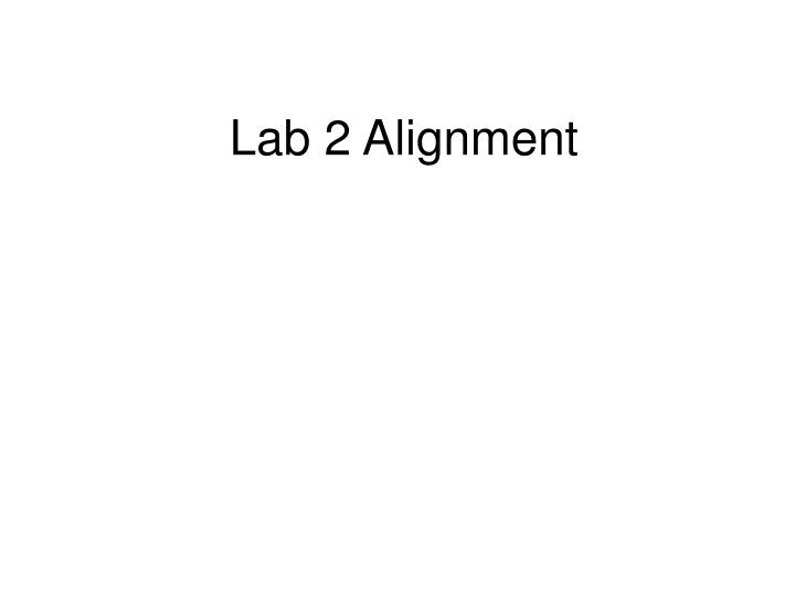 Lab 2 alignment