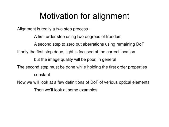 Motivation for alignment