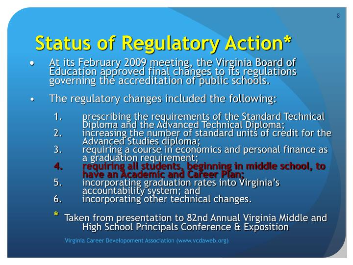Status of Regulatory