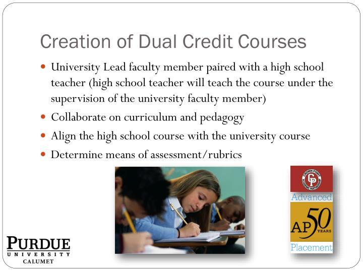 Creation of Dual Credit Courses