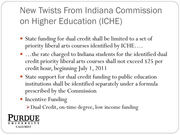 New Twists From Indiana Commission on Higher Education (ICHE)